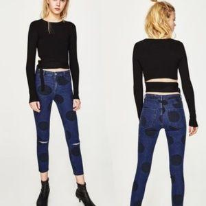 Zara High Waisted Polka Dot Skinny Ankle Jeans